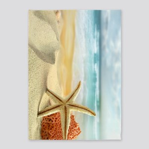 Starfish on Beach 5'x7'Area Rug