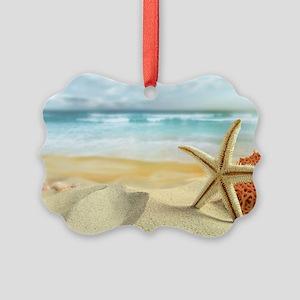 Starfish on Beach Picture Ornament