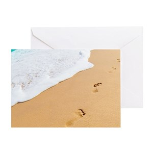 Footprints in the sand greeting cards cafepress m4hsunfo
