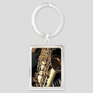Saxophone And Piano  Portrait Keychain