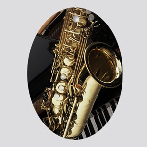 Saxophone And Piano  Oval Ornament