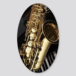 Saxophone And Piano  Sticker (Oval)