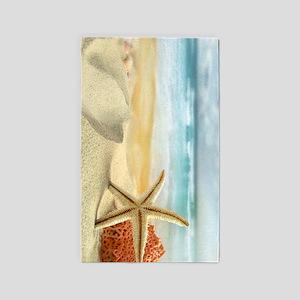 Starfish on Beach Area Rug
