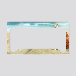 Starfish on Beach License Plate Holder