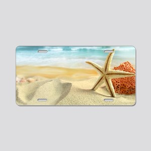 Starfish on Beach Aluminum License Plate