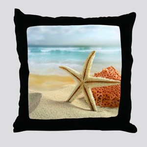 Starfish on Beach Throw Pillow