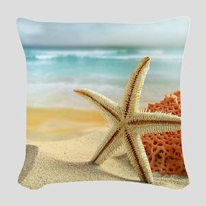 Starfish on Beach Woven Throw Pillow
