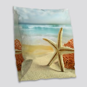 Starfish on Beach Burlap Throw Pillow