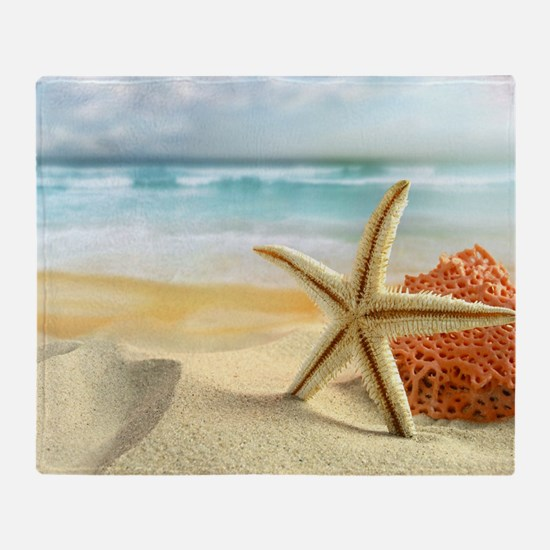 Starfish on Beach Throw Blanket