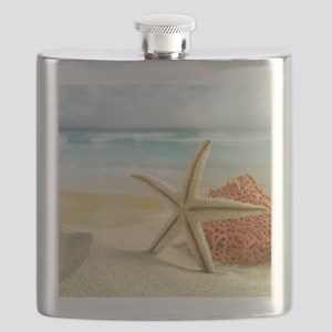 Starfish on Beach Flask