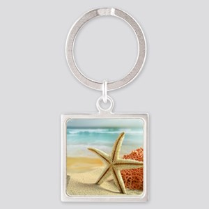 Starfish on Beach Keychains