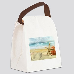 Starfish on Beach Canvas Lunch Bag