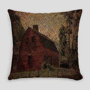 rustic burlap farm barn Everyday Pillow