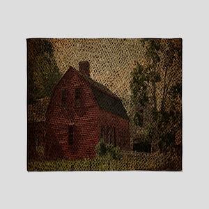 rustic burlap farm barn Throw Blanket