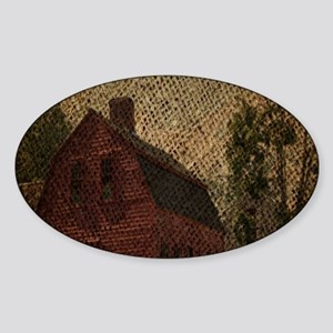 rustic burlap farm barn Sticker