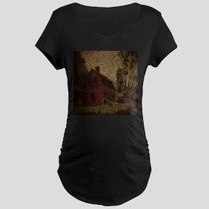 rustic burlap farm barn Maternity T-Shirt