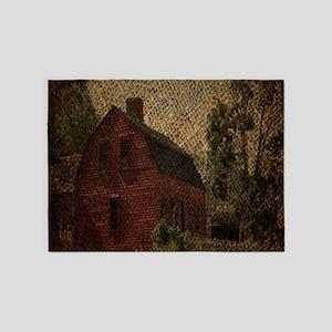 rustic burlap farm barn 5'x7'Area Rug