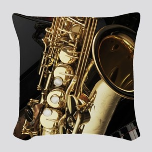 Saxophone And Piano Woven Throw Pillow