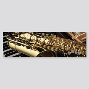 Saxophone And Piano Bumper Sticker