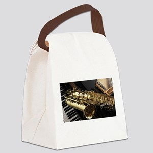 Saxophone And Piano Canvas Lunch Bag