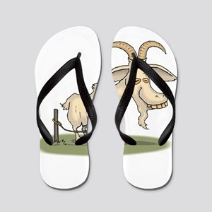 Cartoon Funny Old Goat Flip Flops
