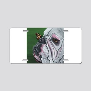 English Bulldog and Butterfly Aluminum License Pla