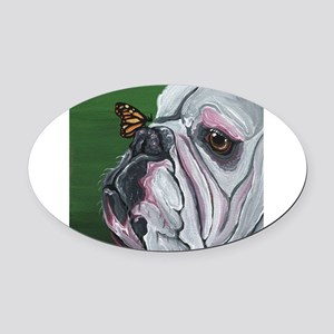 English Bulldog and Butterfly Oval Car Magnet