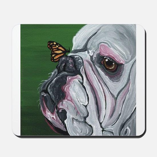 English Bulldog and Butterfly Mousepad