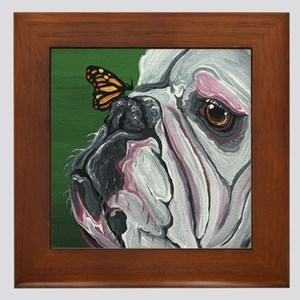 English Bulldog and Butterfly Framed Tile