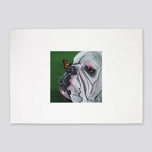 English Bulldog and Butterfly 5'x7'Area Rug