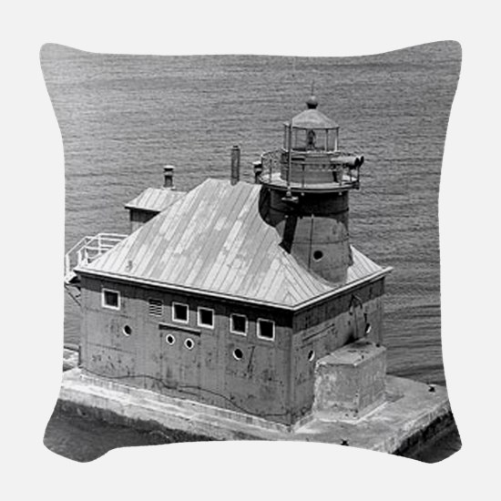 Sturgeon Bay Canal North Pierh Woven Throw Pillow