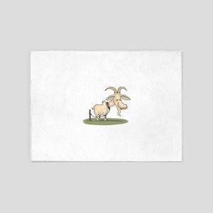 Cartoon Funny Old Goat 5'x7'Area Rug
