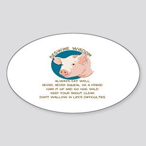DESWINE WISDOM - ADVICE FROM THE PI Sticker (Oval)
