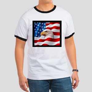 Bald Eagle On American Flag T-Shirt