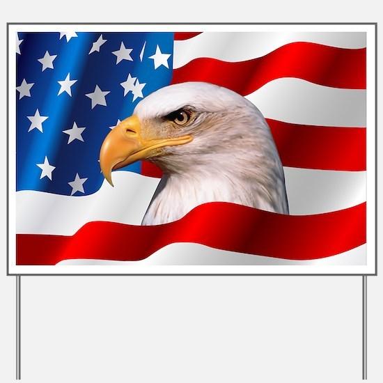 Bald Eagle On American Flag Yard Sign