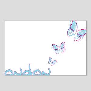 3 blue butterflies Postcards (Package of 8)