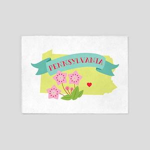 Pennsylvania State Outline Mountain Laurel Flower