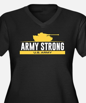 Army Strong Women's Plus Size V-Neck Dark T-Shirt