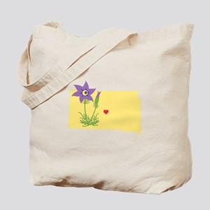South Dakota State Outline Pasque Flower Tote Bag