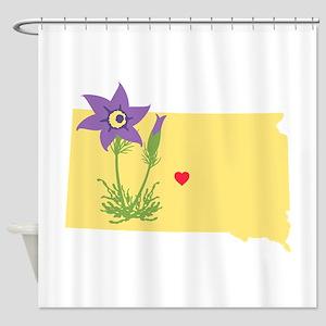 South Dakota State Outline Pasque Flower Shower Cu