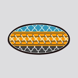 Teal Gray Quatrefoil Stitched Pattern Patch
