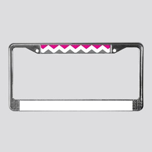 Hot Pink and Gray Chevron Pattern License Plate Fr