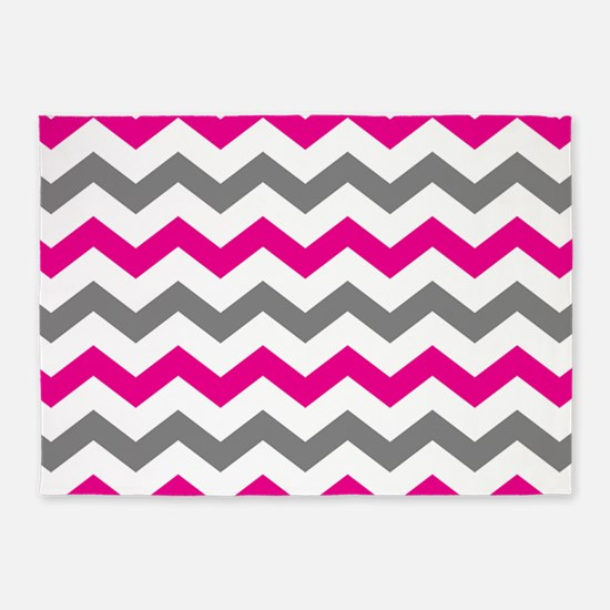 Hot Pink and Gray Chevron Pattern 5'x7'Area Rug