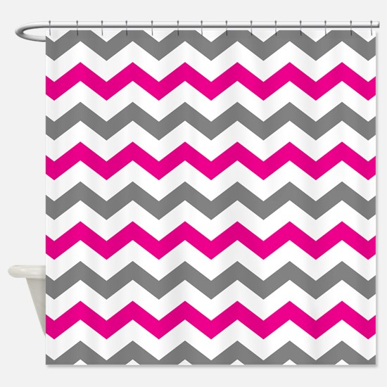 Hot Pink and Gray Chevron Pattern Shower Curtain