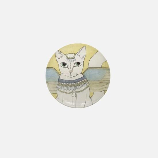 White Cat art Mini Button