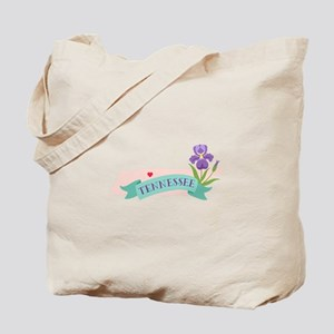 Tennessee State Outline Iris Flower Tote Bag