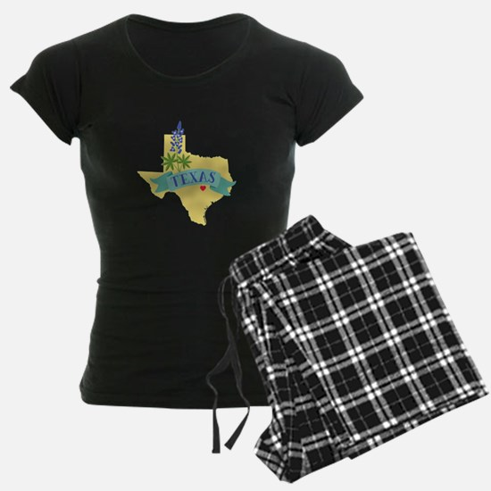 Texas State Outline Bluebonnet Flower Pajamas