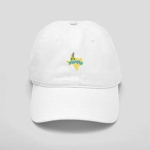 Texas State Outline Bluebonnet Flower Baseball Cap