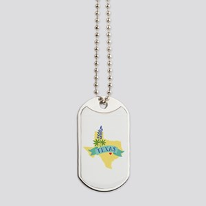 Texas State Outline Bluebonnet Flower Dog Tags