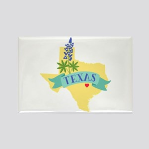 Texas State Outline Bluebonnet Flower Magnets